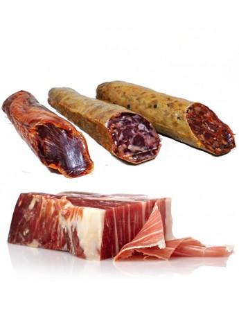 Lote Ibéricos de Bellota de Guijuelo: Salchichón, Chorizo y Lomo Ibérico (600 gr/ud) y Jamón Ibérico en Tacos (1,400 gr).