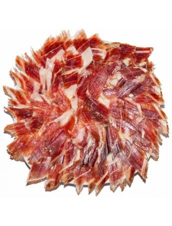 Jamón Ibérico de Guijuelo (Pata negra) Loncheado a Cuchillo y envasado al vacío. Lote de 10 platos redondos de 100 Grs/ud.