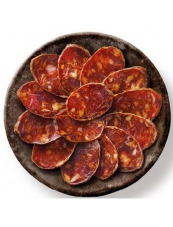 Loncheado de Chorizo cular ibérico de cebo de campo envasado al vacío listo para abrir y servir. Lote 10 bandejas de 100 Grs/Ud