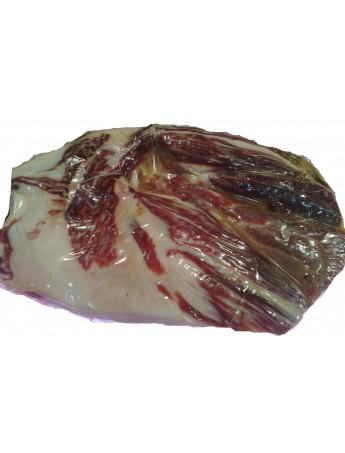 Paleta ibérica de Recebo deshuesada manualmente limpia, pulida y envasada al vacío. Entera o en tacos. Peso de 2,3 Kg.