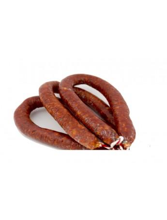Chorizo Ibérico (Longaniza) elaborado con magros del cerdo ibérico. Curación en bodega durante 3. Peso 300 Grs