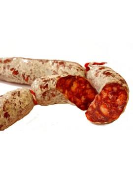 Chorizo Ibérico de bellota (Longaniza) elaborado con magros del cerdo ibérico. Curación 3 meses. Peso 300 Gr