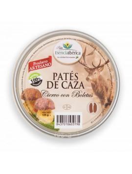 LOTE CAZA GOURMET: Ciervo con Boletus, Perdiz de Monte, Jabalí con Pasas, Pate Ibérico con Cerezas del Jerte. Tarrina 140 gr/Ud