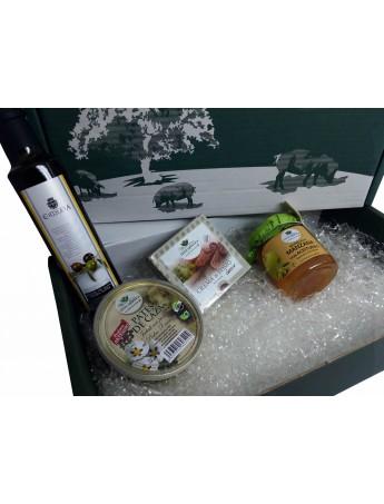 LOTE IBERICOS: Crema de Lomo Ibérico + Pate Jabalí con Pasas + Aceite de Oliva Virgen Extra + Mermelada Manzana con Aceitunas