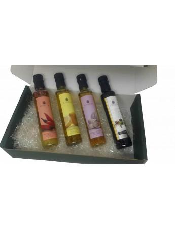 LOTE GOURMET ACEITES CONDIMENTADOS: Aceite Oliva Virgen Extra + Aceite Oliva Virgen Extra Condimentado Al Ajo, Guindilla y Limon